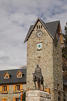 View of General Roca monument in Civic Centre (Centro Civico) and main square in downtown Bariloche City, San Carlos de Bariloche, Argentina