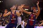 Turkish Airlines Euroleague 2017/2018.<br /> Regular Season - Round 23.<br /> FC Barcelona Lassa vs R. Madrid: 74-101.<br /> Ante Tomic, Walter Tavares &amp; Adam Hanga.
