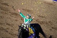 DEL MAR, CA - NOVEMBER 04: Irad Ortiz Jr., aboard Bar of Gold #5, tosses flowers in the air after winning the Breeders' Cup Filly & Mare Sprint on Day 2 of the 2017 Breeders' Cup World Championships at Del Mar Thoroughbred Club on November 4, 2017 in Del Mar, California. (Photo by Ting Shen/Eclipse Sportswire/Breeders Cup)