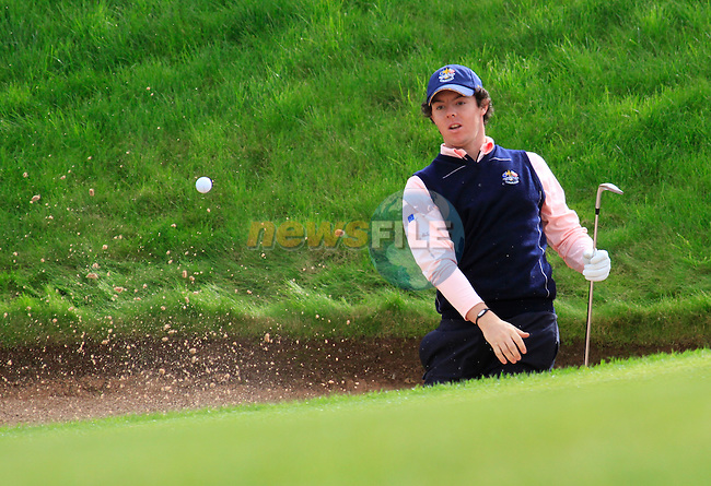 Rory McIlroy chips out of a bunker during Practice Day 3 of the The 2010 Ryder Cup at the Celtic Manor, Newport, Wales, 29th September 2010..(Picture Eoin Clarke/www.golffile.ie)