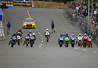 Formula One riders take off at the start of race one. The 2017 Suzuki series Cemetery Circuit motorcycle racing at Cooks Gardens in Wanganui, New Zealand on Tuesday, 27 December 2017. Photo: Dave Lintott / lintottphoto.co.nz