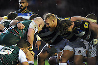 Ross Batty of Bath Rugby shouts out at a scrum. Aviva Premiership match, between Leicester Tigers and Bath Rugby on November 29, 2015 at Welford Road in Leicester, England. Photo by: Patrick Khachfe / Onside Images