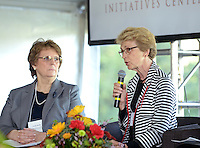 NWA Democrat-Gazette/BEN GOFF @NWABENGOFF<br /> Linda K. Smith (left), deputy assistant secretary and inter-department liaison for early childhood development with the U.S. Department of Health and Human Services, listens as Lynne Walton, board member of the Walton Family Foundation, speaks on Thursday Sept. 17, 2015 during a panel discussion on early childhood development at the future site of a new Helen R. Walton Children's Enrichment Center and Early Childhood Initiatives Center on N.E. J St. in Bentonville.