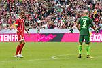 15.07.2017, Borussia Park, Moenchengladbach, GER, TELEKOM CUP 2017 Finale - SV Werder Bremen vs FC Bayern Muenchen<br /> <br /> im Bild<br /> Torsch&uuml;tze zum 0:1 Thomas M&uuml;ller / Mueller (FC Bayern Muenchen #25) bejubelt seinen Treffer, Luca Caldirola (Werder Bremen #3), <br /> <br /> Foto &copy; nordphoto / Ewert
