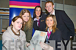 Students Karen Moran and Rebecca Kiely had a look to see what kind of career opportunities were available from the AIB on Tuesday at the IT Tralee Career Fair. Also pictured were staff from AIB : Marie OSullivan (front), Maria Griffin and Colm Cooper (back)