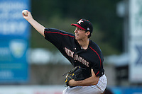 Kannapolis Intimidators starting pitcher Zach Thompson (40) delivers a pitch to the plate against the Hagerstown Suns at Intimidators Stadium on July 18, 2015 in Kannapolis, North Carolina.  The Intimidators defeated the Suns 1-0.  (Brian Westerholt/Four Seam Images)