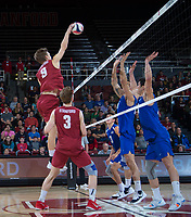 STANFORD, CA - March 2, 2019: Stephen Moye, Paul Bischoff at Maples Pavilion. The Stanford Cardinal defeated BYU 25-20, 25-20, 22-25, 25-21.