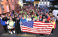 25-05-2013: Liam Attridge, Mace Regional Manager,  with contestants before the start of the Sneem Mace  JFK 50 Mile Challenge in Sneem, Co. Kerry  at 5.00 A.M on Saturday morning.  The JFK 50 Mile Walk first came about in the 1960s in the USA when President  John F. Kennedy (JFK) announced that an endurance test of walking 50 miles was to be performed by U.S. servicemen to prove they were in ready military condition. Picture: Eamonn Keogh (MacMonagle, Killarney) FREE PR PHOTO NO REPRO