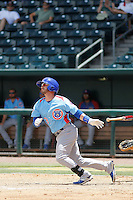 Tennessee Smokies second baseman Stephen Bruno (3) at bat during a game against the Jacksonville Suns at Bragan Field on the Baseball Grounds of Jacksonville on June 13, 2015 in Jacksonville, Florida.  Tennessee defeated Jacksonville 12-3. (Robert Gurganus/Four Seam Images)