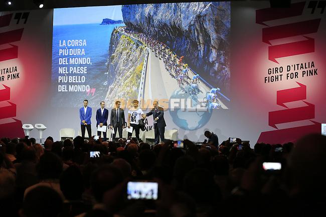 Vincenzo Nibali (ITA), UCI leading points rider Alejandro Valverde (ESP), defending Giro Champion Alberto Contador (ESP), newly crowned World Champion Peter Sagan (SVK) and Andrea Monti, La Gazzetta dello Sport Editor-in-Chief, on stage at the Giro d'Italia 2016 Presentation held at Expo Milano, Milan, Italy. 5th October 2015.<br /> Picture: Eoin Clarke | Newsfile