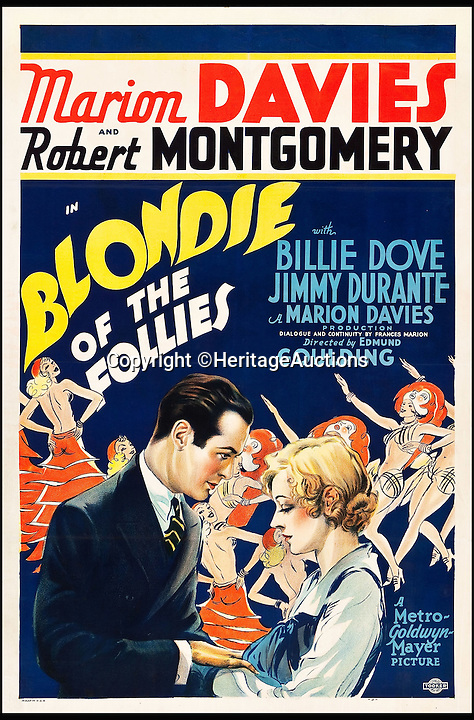BNPS.co.uk (01202 558833)<br /> Pic: HeritageAuctions/BNPS<br /> <br /> Blondie of the Follies (MGM, 1932) estimate $6,000.<br /> <br /> A lucky family is set to make a staggering &pound;160,000 after a hoard of old film posters they stumbled upon under the floor of their new home turned out to be 'lost' Hollywood relics.<br /> <br /> The prized stash of 17 perfectly preserved posters was discovered by Bob and Dylan Basta as they tore up the lino in the house their dad Robert was renovating. <br /> <br /> After calling in experts from leading auctioneers Heritage they found that among their treasure trove were five never-seen-before posters from the Golden Age of Hollywood.<br /> <br /> The collection is now tipped to fetch a whopping $240,000 - around &pound;160,000 - at Heritage Auctions in Dallas, Texas.