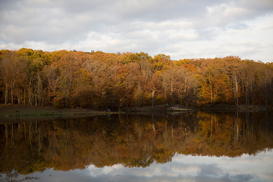 Fall foliage is seen along Ogle Lake on Friday, Oct. 26, 2014, at Brown County State Park. (Photo by James Brosher)