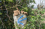 Cornwall, England. Workman gloves on a stone marked with a blue left arrow.