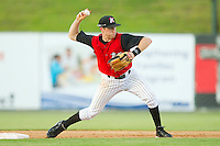 Shortstop Zach Kayne #8 of the Kannapolis Intimidators makes a throw to first base against the Augusta GreenJackets at Fieldcrest Cannon Stadium June 24, 2010, in Kannapolis, North Carolina.  Photo by Brian Westerholt / Four Seam Images