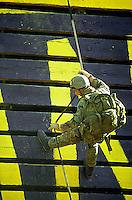 Ranger student on rapelling ramp, North Georgia. Dahlonega, Georgia.