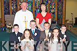 Coolick NS pupils who received their First Holy Communion in Kilcummin on Saturday with their teacher Tara O'Donoghue and Fr Joe Begley l-r: Craig O'Riordan, Marie O'Donoghue, Edward Lyons, Dylan Murphy, Laura Teahan, Ruairi? Counihan.