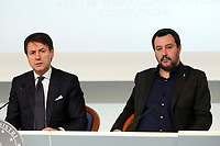 Italian premier Giuseppe Conte and  Minister of Internal Affairs Matteo Salvini<br /> Rome December 21st 2018. Palazzo Chigi. Press conference at the end of Minister's cabinet.<br /> Foto Samantha Zucchi Insidefoto