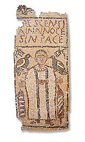 The Christian Eastern Roman Byzantine memorial funerary mosaic for Crescentia. <br /> Above the funerary portrait of Crescentia are the words: &lsquo;Crescentia, innocent and in Peace&rsquo;. Crescentia is dressed in a dalmatic, a long wide-sleeved tunic, with a belt around the waiste and a neclace around her neck. Lit candles represent eternal life. 5th century AD from the western necropolis of Thabraca, Tabarka, Tunisia, Bardo Museum, Tunis, Tunisia. White background