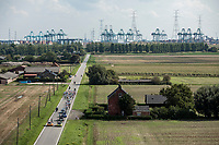Road towards the Port of Antwerp. <br /> <br /> Antwerp Port Epic 2018 (formerly &quot;Schaal Sels&quot;)<br /> One Day Race: Antwerp &gt; Antwerp (207km of which 32km are cobbles &amp; 30km is gravel/off-road!)