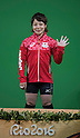 Hiromi Miyake (JPN), AUGUST 6, 2016 - Weightlifting : Bronze medalist Hiromi Miyake of Japan celebrares during the medal ceremony for the the Women's 48kg during the Rio 2016 Olympic Games at Riocentro Pavilion 2 in Rio de Janeiro, Brazil. (Photo by Enrico Calderoni/AFLO SPORT)