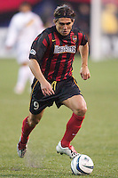 Jaime Moreno of the MetroStars scored his teams only goal off of a penalty kick in the 42nd minute. The LA Galaxy tied the NY/NJ MetroStars 1-1 on 4/19/03 at Giant's Stadium, NJ.