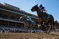 DEL MAR, CA - NOVEMBER 04: Blonde Bomber #5, ridden by Jose Lezcano, and Alluring Star #9, ridden by Joseph Talamo, during the 14 Hands Winery Breeders' Cup Juvenile Fillies on Day 2 of the 2017 Breeders' Cup World Championships at Del Mar Thoroughbred Club on November 4, 2017 in Del Mar, California. (Photo by Alex Evers/Eclipse Sportswire/Breeders Cup)