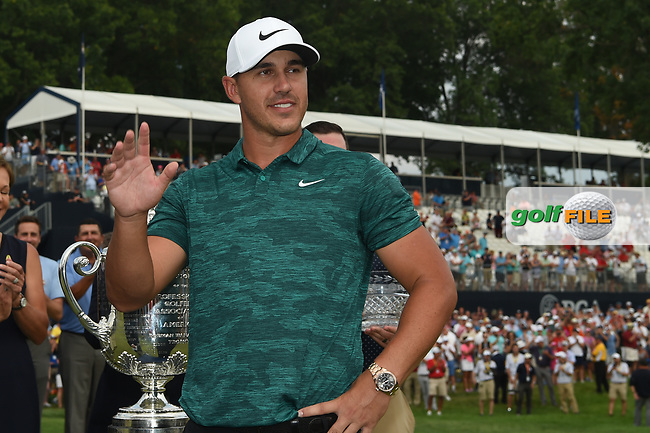 Brooks Koepka (USA) is interviewed following the 100th PGA Championship at Bellerive Country Club, St. Louis, Missouri. 8/12/2018.<br /> Picture: Golffile | Ken Murray<br /> <br /> All photo usage must carry mandatory copyright credit (© Golffile | Ken Murray)