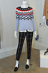 "Women's sweater, shirt and pant from the ""Technicolor"" collection, displayed during the Old Navy Holiday 2015 fashion presentation."