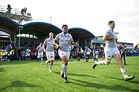 Tom Ellis, Ben Tapuai, Matt Banahan and the rest of the Bath Rugby team run out onto the field. Aviva Premiership match, between Worcester Warriors and Bath Rugby on April 15, 2017 at Sixways Stadium in Worcester, England. Photo by: Patrick Khachfe / Onside Images