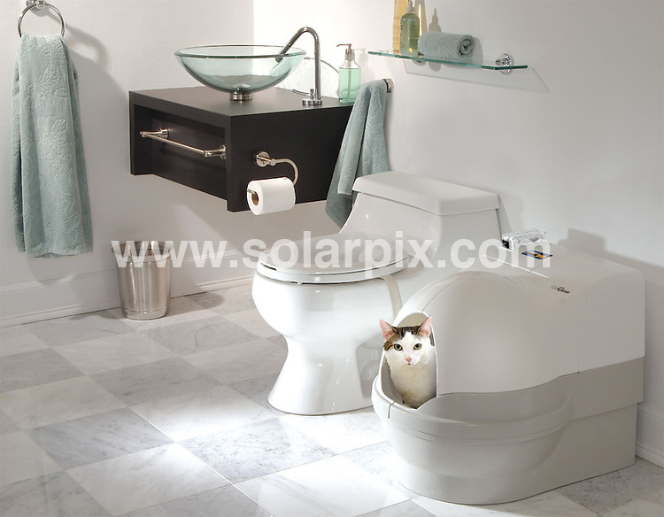 **ALL ROUND PICTURES FROM SOLARPIX.COM**.**USA PUBLICATION ONLY** .The world's only flushable cat toilet. The purrfect answer to dirty cat litter -..CatGenie UK is transforming the way cats go to the toilet with the revolutionary CatGenie self-flushing , self-washing cat toilet. Once installed you never need to touch, smell or change dirty cat litter again...Instead of litter, the CatGenie uses washable granules. Liquid waste is drained and solids get scooped. All get liquefied for safe and easy disposal down the drain out of the home. Just like your own toilet...The washable granules and cat box interior are then washed with water and cat safe solution. Next a built in dryer blows hot air through the granules to dry them completely for your cat's comfort...Sensors monitor when the cat visits the box and can be set to clean automatically at intervals throughout the day...It's estimated that the average cat owner spends more than 30 hours per year buying and carrying litter plus changing and disposing of dirty litter. There's no dirty litter to dispose of with this product and CatGenie uses just 0.4w a cycle which equates to £15 a year making it a green purchase. Cost start at £289.99. London, UK. 29 July 2009..This pic: CatGenie cat toilet..JOB REF: 9628 SFE       DATE: 29_07_2009.**MUST CREDIT SOLARPIX.COM OR DOUBLE FEE WILL BE CHARGED**.**MUST NOTIFY SOLARPIX OF ONLINE USAGE**.**CALL US ON: +34 952 811 768 or LOW RATE FROM UK 0844 617 7637**