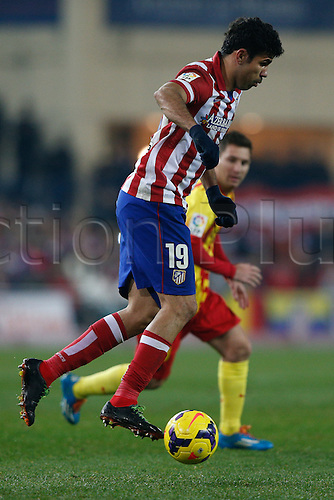 11.01.2014 Madrid, Spain. Atletico de Madrid versus F.C. Barcelona at Vicente Calderon stadium.  Diego da Silva Costa (Brazilian midfielder of At. Madrid)