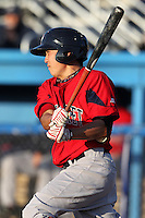 Pawtucket Red Sox shortstop Jonathan Hee #12 at bat during a game against the Empire State Yankees at Dwyer Stadium on May 5, 2012 in Batavia, New York.  Pawtucket defeated Empire State 9-3.  (Mike Janes/Four Seam Images)