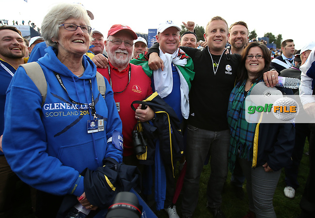 Jamie Donaldson (EUR) with his family after winning the RC during Sunday's Singles at the 2014 Ryder Cup from Gleneagles, Perthshire, Scotland. Picture:  David Lloyd / www.golffile.ie