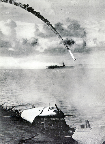 June 19, 1944 : Philippine Sea, Philippine - The Battle of the Philippine Sea was a decisive naval battle of World War II, and the largest aircraft carrier battle in history. It was fought between the navies of the United States and the Empire of Japan. The engagement proved disastrous for the Imperial Japanese Navy, which lost three aircraft carriers and some 600 aircraft, termed by Americans 'The Great Marianas Turkey Shoot'. (Photo by Kingendai Photo Library/AFLO)