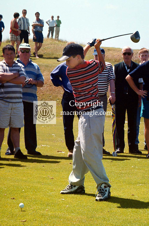 STYLE OF A FUTURE CHAMPION...GREG NORMAN'S SON.Greg Norman's son Gregory (13) blasts a ball down the 1st fairway at Ballybunion in Co. Kerry Ireland. .©Picture by Don MacMonagle.6 Port Road, Killarney Co. Kerry, Ireland.Tel: 00-353+64+32833