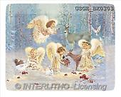 Dona Gelsinger, CHRISTMAS CHILDREN, angels, paintings, 4 angels, deers(USGEBX0303,#XK#) Engel, angeles