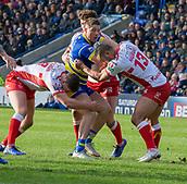 9th February 2019, Halliwell Jones Stadium, Warrington, England; Betfred Super League rugby, Warrington Wolves versus Hull KR; Tom Lineham is tackled by Hull KR's Robbie Mulhern and Weller Hauraki
