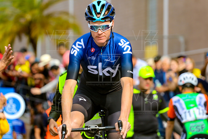 MEDELLIN - COLOMBIA, 13-02-2019: Chris Froome (GBR), Sky Team, durante la segunda etapa del Tour Colombia 2.1 2019 con un recorrido de 150.5 Km, que se corrió entre La Ceja Canadá - Carmen de Viboral - Rionegro - Canadá - La Ceja. /  Chris Froome (GBR), Sky Team, during the second stage of 150.5 km of Tour Colombia 2.1 2019 that ran through La Ceja Canada - Carmen de Viboral - Rionegro - Canada - La Ceja.  Photo: VizzorImage / Anderson Bonilla / Cont
