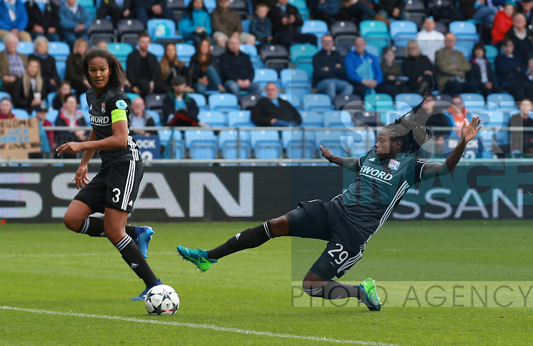 Griedge Mbock Bathy Nka of Lyon stretches for a cross during the Women's Champions League, Semi Final 1st leg match at the Academy Stadium, Manchester. Picture date 22nd April 2018. Picture credit should read: Simon Bellis/Sportimage