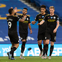 Manchester City's Gabriel Jesus (left) celebrates scoring his side's second goal  with team<br /> <br /> Photographer David Horton/CameraSport<br /> <br /> The Premier League - Brighton & Hove Albion v Manchester City - Saturday 11th July 2020 - The Amex Stadium - Brighton<br /> <br /> World Copyright © 2020 CameraSport. All rights reserved. 43 Linden Ave. Countesthorpe. Leicester. England. LE8 5PG - Tel: +44 (0) 116 277 4147 - admin@camerasport.com - www.camerasport.com