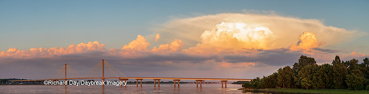 63895-15506 Clark Bridge over Mississippi River and thunderstorm (Cumulonimbus Cloud) Alton, IL