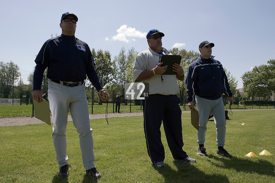 30 April 2008: MLB representative are seen during the first of seven 2008 MLB European Academy Try-out Sessions throughout Europe, at Stade Kandy Nelson Ball Park, in Toulouse, France. Try-out sessions are run by members of the Major League Baseball Scouting Bureau with assistance from MLBI staff.