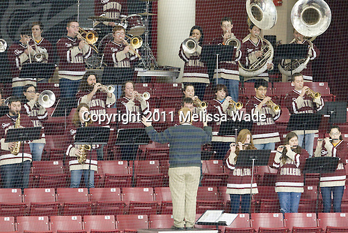 Pep bands represented both teams. - The Boston College Eagles defeated the Harvard University Crimson 3-1 to win the 2011 Beanpot championship on Tuesday, February 15, 2011, at Conte Forum in Chestnut Hill, Massachusetts.