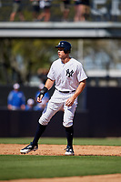 New York Yankees right fielder Aaron Judge (99) leads off second base during a Grapefruit League Spring Training game against the Toronto Blue Jays on February 25, 2019 at George M. Steinbrenner Field in Tampa, Florida.  Yankees defeated the Blue Jays 3-0.  (Mike Janes/Four Seam Images)