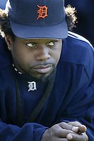 Dmitri Young of the Detroit Tigers before a 2002 MLB season game against the Los Angeles Angels at Angel Stadium, in Anaheim, California. (Larry Goren/Four Seam Images)