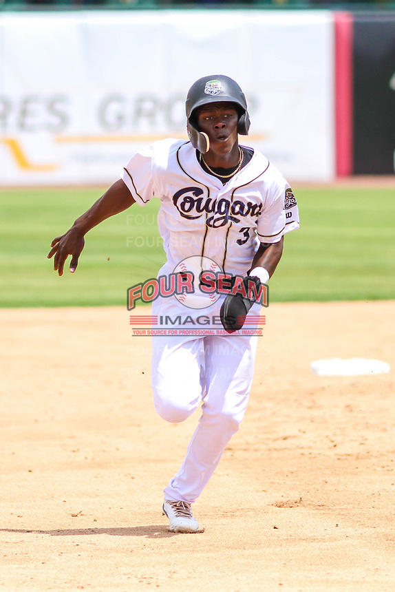Kane County Cougars shortstop Jasrado Chisholm (3) races to third base during a Midwest League game against the Quad Cities River Bandits on July 1, 2018 at Northwestern Medicine Field in Geneva, Illinois. Quad Cities defeated Kane County 3-2. (Brad Krause/Four Seam Images)