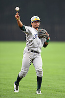 Beloit Snappers shortstop Melvin Mercedes (2) warms up in the outfield before a game against the Clinton LumberKings on August 17, 2014 at Ashford University Field in Clinton, Iowa.  Clinton defeated Beloit 4-3.  (Mike Janes/Four Seam Images)