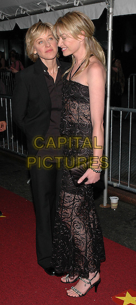 ELEN DEGENERES & PORTIA DI ROSSI.Arrivals at the 2005 Daytime Emmys at Radio City Music Hall in New York City, USA, 20 May 2005..full length black halterneck dress lace couple sheer see through clutch bag.Ref: ADM.www.capitalpictures.com.sales@capitalpictures.com.©Patti Ouderkirk/AdMedia/Capital Pictures.