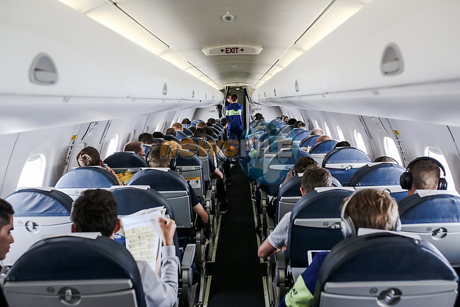 All the teams on board the flight to the final Stage 21 of the 2019 Tour de France running 128km from Rambouillet to Paris Champs-Elysees, France. 28th July 2019.<br /> Picture: ASO/Thomas Maheux | Cyclefile<br /> All photos usage must carry mandatory copyright credit (© Cyclefile | ASO/Thomas Maheux)