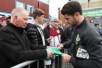 Burnley's Robbie Brady signs autographs for waiting fans as he arrives ahead of kick-off at Turf Moor<br /> <br /> Photographer Rich Linley/CameraSport<br /> <br /> The Premier League - Burnley v Everton - Saturday 5th October 2019 - Turf Moor - Burnley<br /> <br /> World Copyright © 2019 CameraSport. All rights reserved. 43 Linden Ave. Countesthorpe. Leicester. England. LE8 5PG - Tel: +44 (0) 116 277 4147 - admin@camerasport.com - www.camerasport.com
